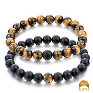 Vòng cặp đá phong thủy – Vòng đá Mắt Hổ Vàng Nâu và Obsidian